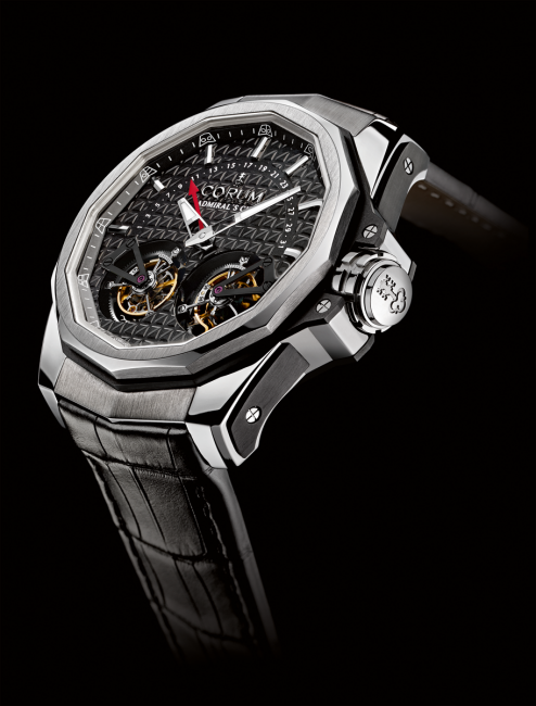 CORUM Admiral's Cup AC-One 45 Double Tourbillon made of grade 5 titanium.