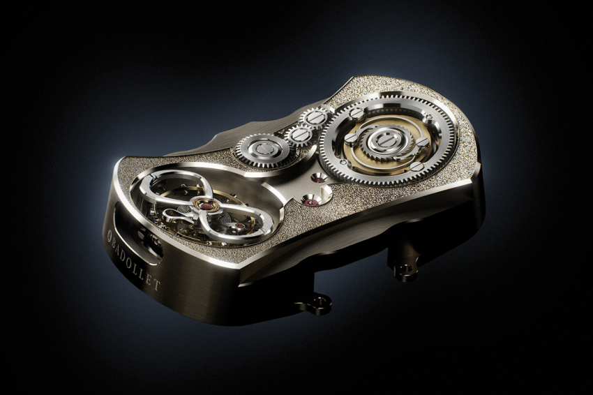 The central plate of the BADOLLET 2012 domed movement is entirely hand-decorated with chamfering, chasing, concave chamfering, circular graining and straight graining executed in the traditional manner.