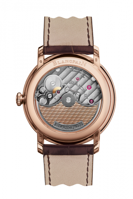 The back of the new Blancpain Villeret, reveals a beautifully decorated in-house Calibre 1335