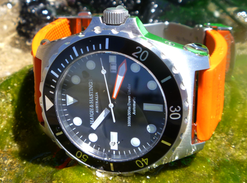 The 1000 ft / 300 m water resistant Haigh & Hastings M2 Diver Automatic