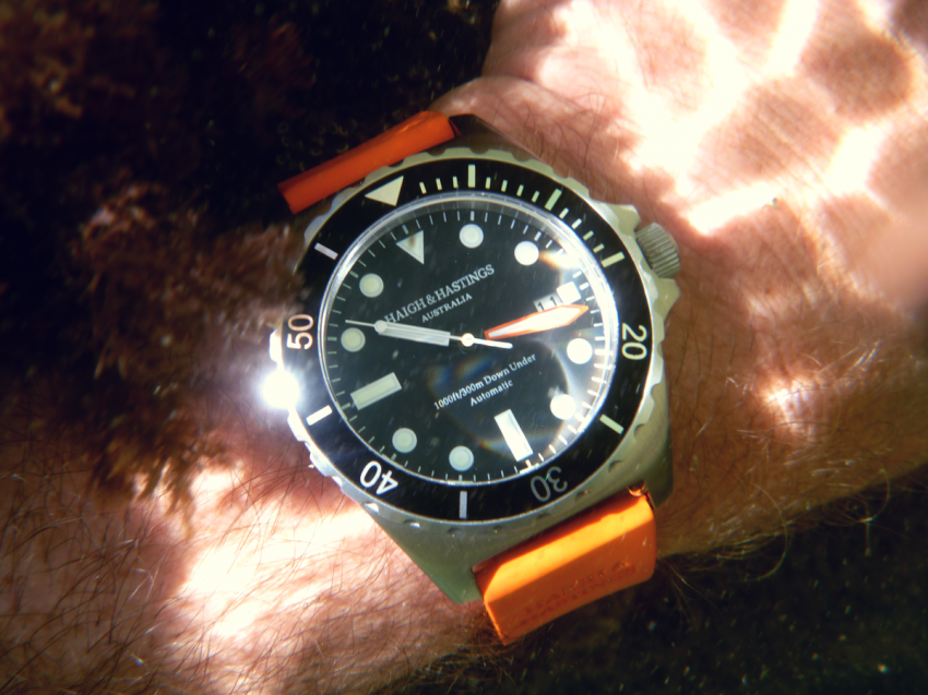 The M2 Diver Automatic in its element, under water.