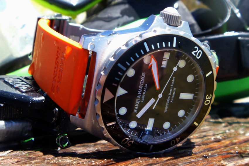 The Haigh & Hastings M2 Diver Automatic with 1000 ft / 300 m water resistance.