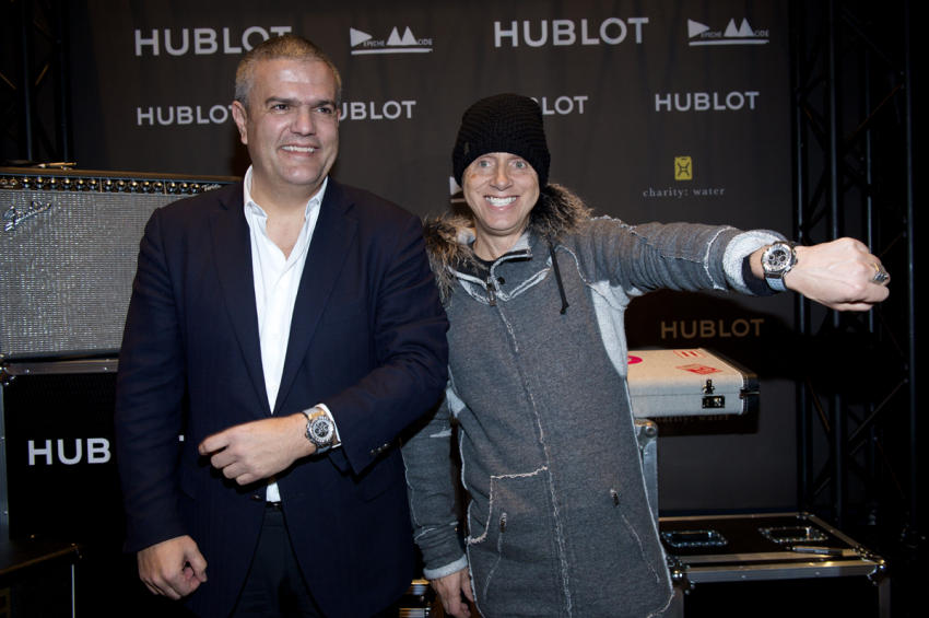 Hublot CEO Ricardo Guadalupe and Martin Gore at the Hublot boutique in Place Vendôme, Paris.