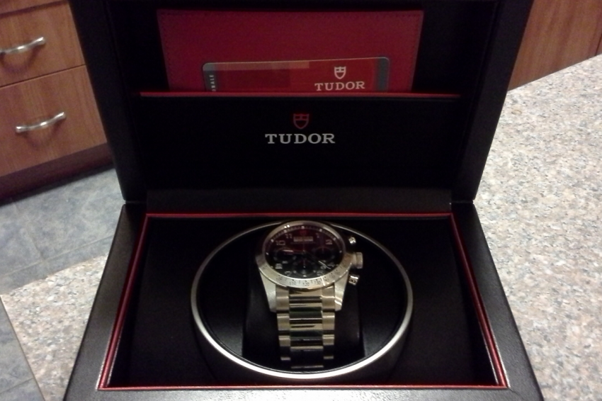 Tudor Fastrider Chronograph in its box.
