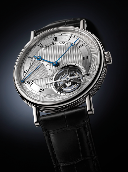 The platinum case of the Breguet Classique Tourbillon extra-thin automatic 5377 is only 7 mm thick.