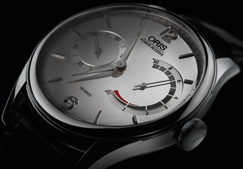 The Oris patented non-linear power reserve indication at 3 o'clock indicates the amount of power remaining in the barrel from 10 days down to zero.
