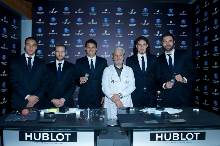 The King Power Paris Saint-Germain was launched in the presence of players Edinson Cavani, Thiago Silva, Yohan Cabaye, Gregory Van Der Wiel and Salvatore Sirigu, who were invited to take part in a Hublot Watch Academy workshop, with assistance from a professional watchmaker.