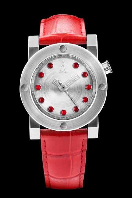 CTK103 - Red Jade Automatic with its 11 pure red Burmese jade circles on the silver dial.