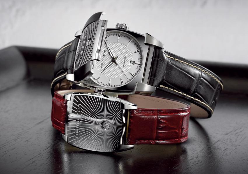 Inspired by a 1930s Hamilton sport watch, the Flintridge has a protective decorated folding cover.