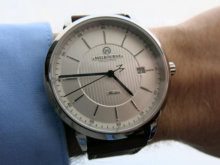 Wrist-shot of a Flinders — white dial by Melbourne Watch Company