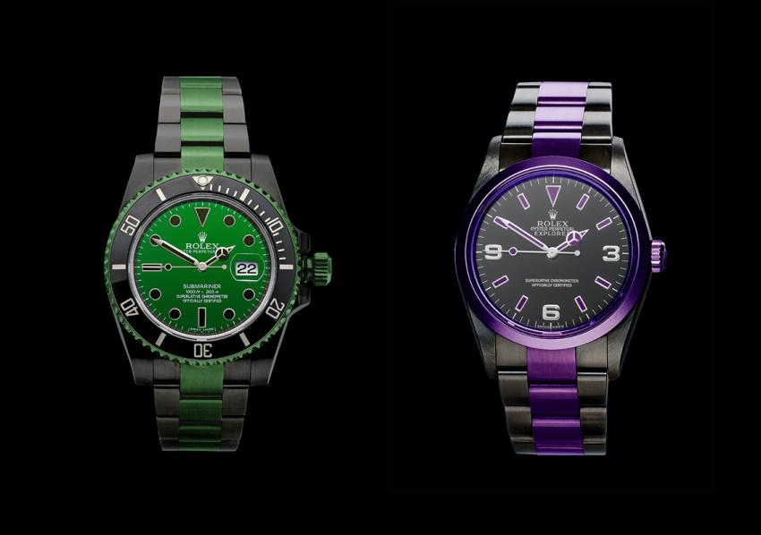 Using DURAMANTAN, you have a customized Submariner Date in steel and  an Rolex Explorer in aubergine.