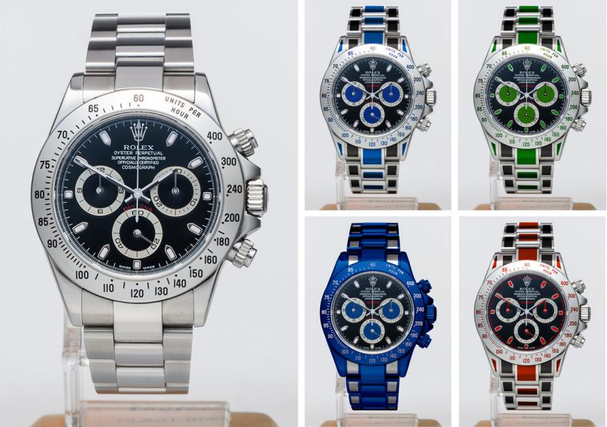 On the left, the original satinles steel Rolex Black Dial Cosmograph Daytona 116520. On the right, four colour variations obtained using Rau-Tech's coating technology
