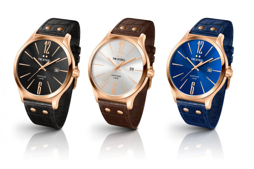 The TW1303, TW1304 and TW1305 with their A-grade PVD rose gold plated cases.