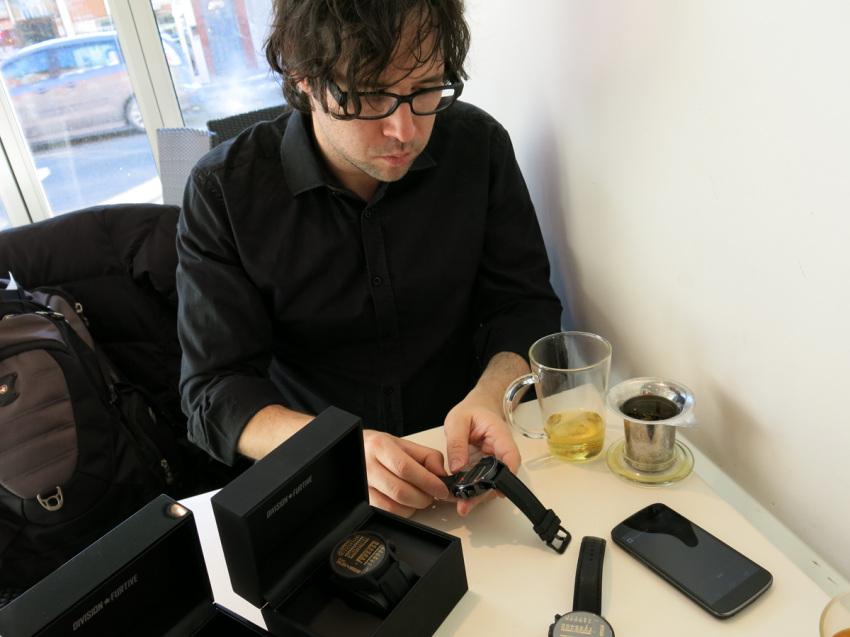Gabriel Ménard preparing to demonstrate how to set the time on a Division Furtive Type 40.