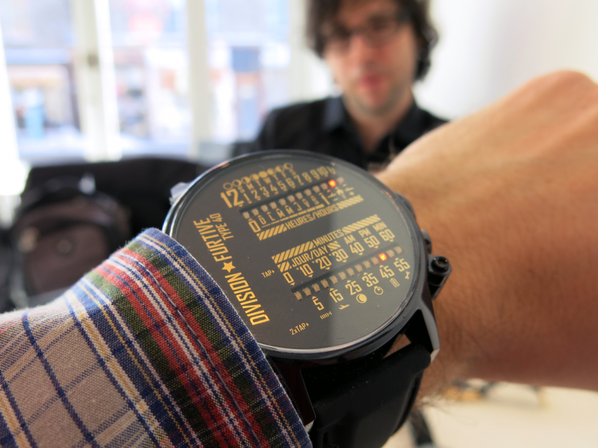 Wrist shot of the Division Furtive Type 40 dual linear LED-display watch.