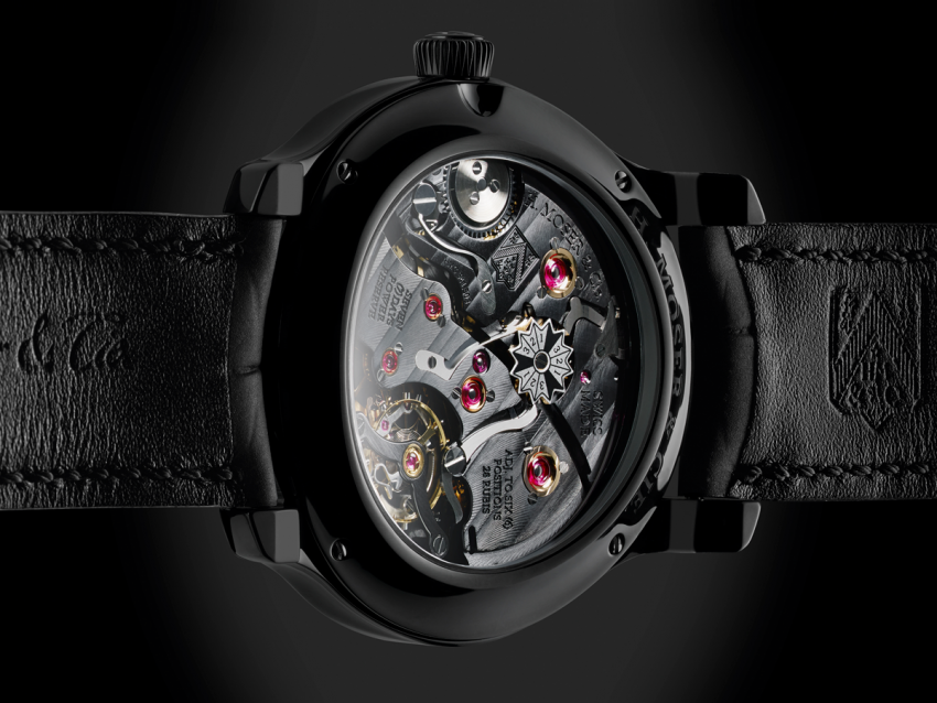 The back of the Perpetual Calendar Black Edition, revealing the in-house hand-wound calibre HMC 341 with 7 days power reserve.