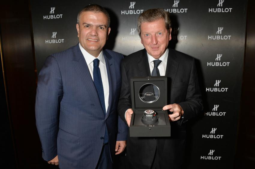 Ricardo Guadalupe, CEO of Hublot, presented Roy Hodgson, the Manager of the England National football team, with a watch that has been created and named in his honour.