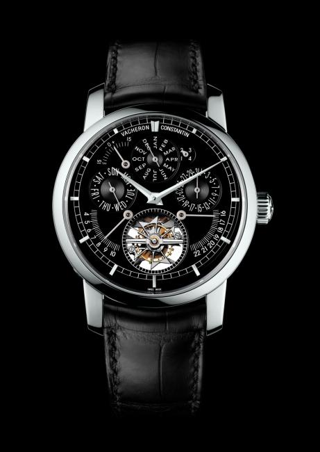 Vacheron Constantin Traditionnelle Calibre 2253 Moscow Boutique: tourbillon at six o'clock; equation of time between 10 and 11 o'clock; perpetual calendar days, months and dates at 9, 12 and 3 o'clock, while the leap-year indicator is at 1 o'clock; sunrise at 8 o'clock; sunset at 4 o'clock.