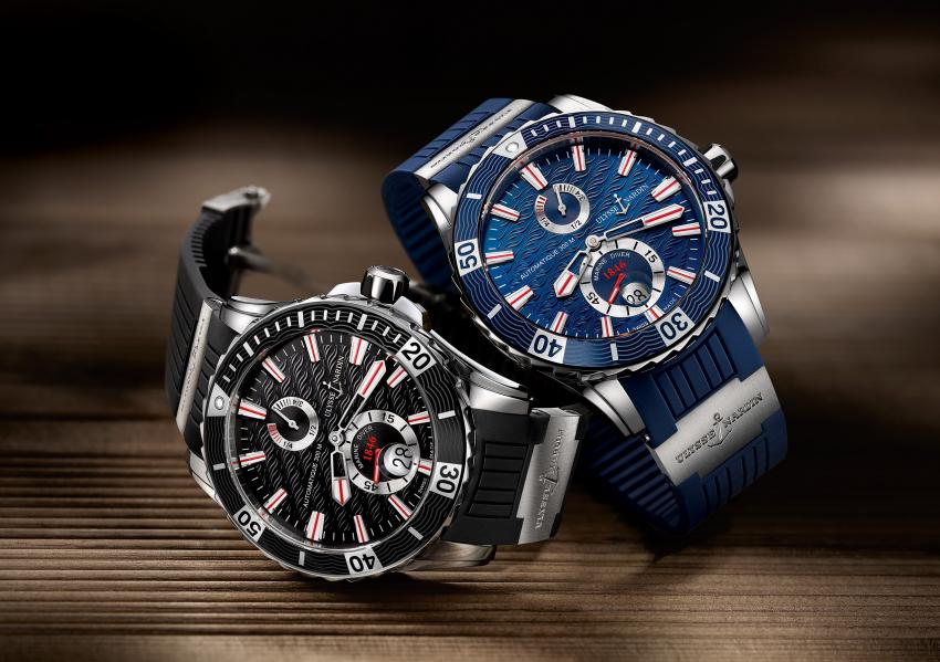 The 2014 Ulysse Nardin Marine Divers on an exclusive rubber strap with titanium elements and deployant clasp.
