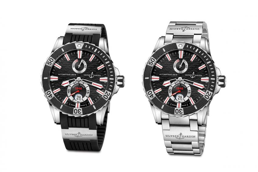 The black version of the Ulysse Nardin Marine Diver on rubber strap and on stainless steel bracelet.