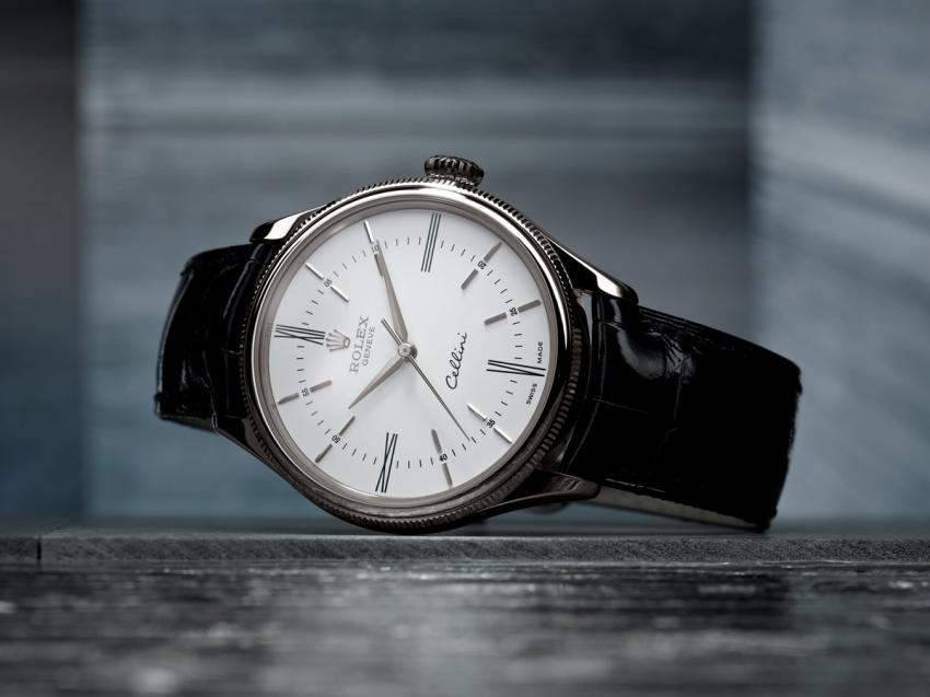 The 2014 Rolex Cellini Time with white lacquered dial and 18 ct white gold case.