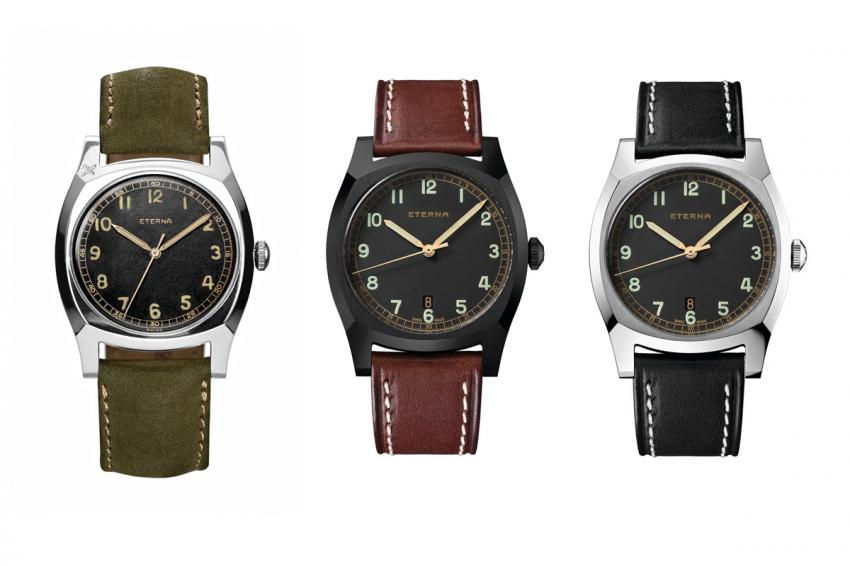 The first watch is the original model from 1939, the Majetek, followed by the two 2014 reissues.