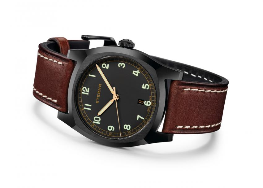 Eterna Heritage Military with black PVD coated stainless steel case.