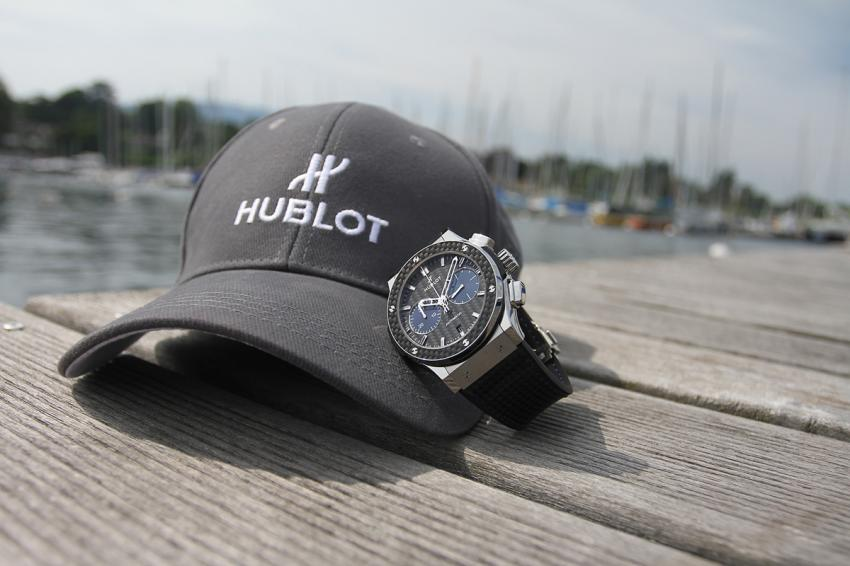 Hublot Classic Fusion chrono in titanium and carbon with a hint of deep blue mirroring the waters of Lake Geneva