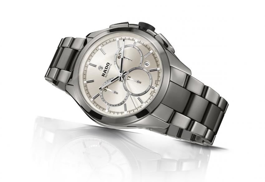 The Rado HyperChrome Automatic Chronograph looks like a stainless steel watch, but it is actually built from plasma high-tech ceramic.