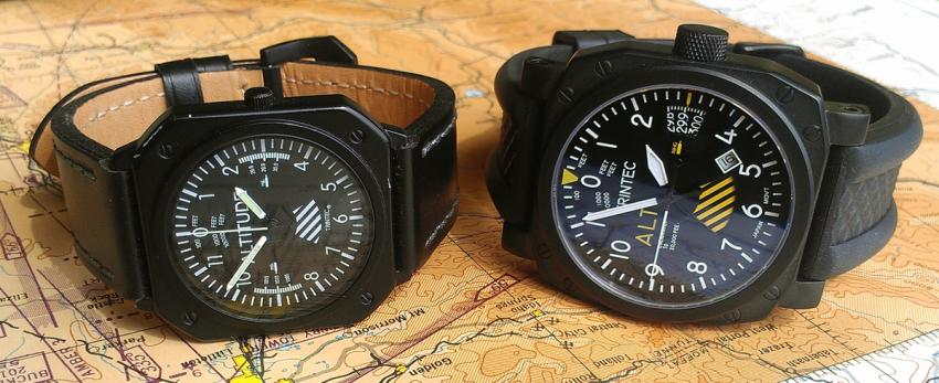 Side by side the first and the 30th anniversary edition Altimeter watch.