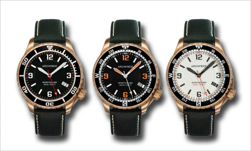 The threee versions of the ARCHIMEDE SportTaucher with bronze case.