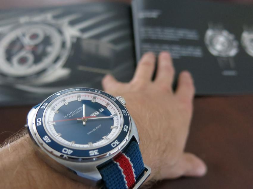 The Pan Europ Auto with a booklet of the chronograph version in the background.