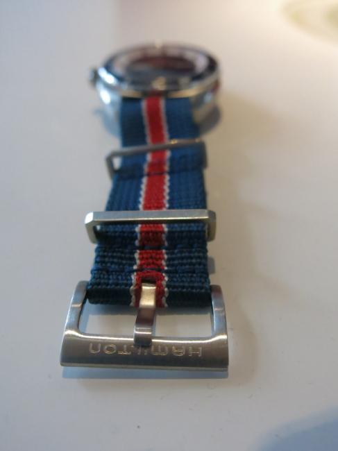 The buckle on the Pan Europ strap bears the Hamilton name engraved.