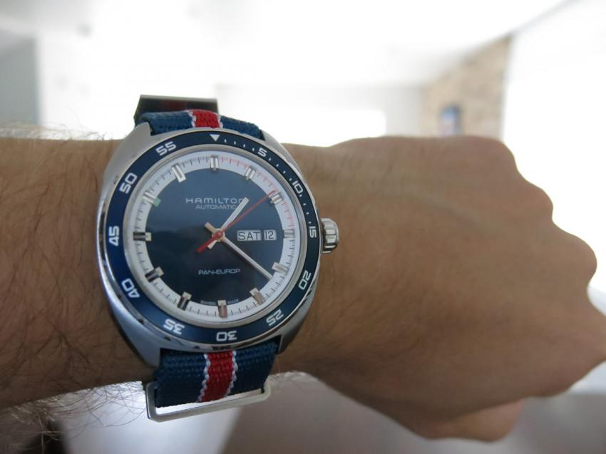 Wrist shot of the Hamilton Pan Europ Auto