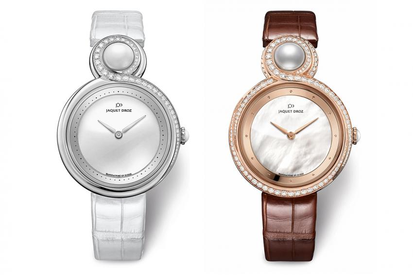 Jaquet Droz Lady 8 white ceramic and red gold