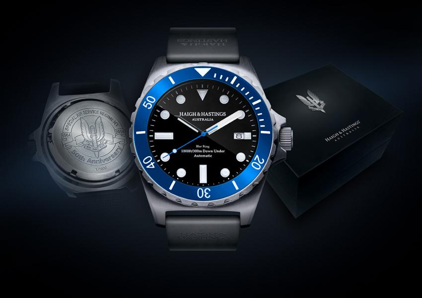 The limited edition Haigh & Hastings M2 Diver marking the 50th anniversary of the Special Air Service Regiment.
