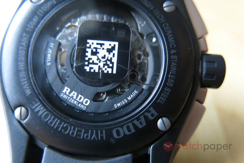 The black rotor is shaped like the anchor from the Rado logo.