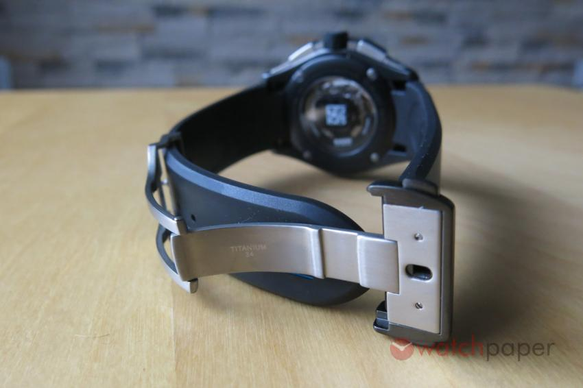 Titanium folding clasp with black DLC coated stainless steel cover and openers.