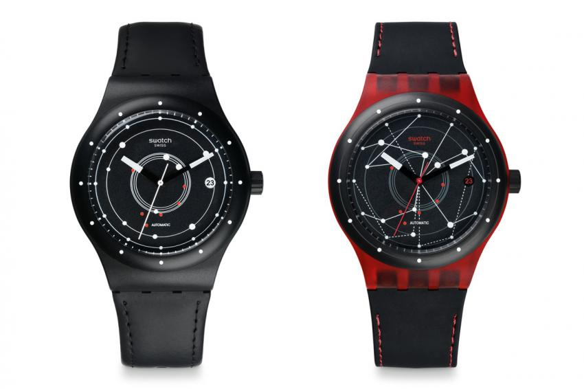 The black and the red editions of the Swatch Sistem51
