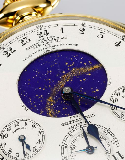 A close-up of the Henry Graves Supercomplication with the night sky of New York City (c) Sotheby's