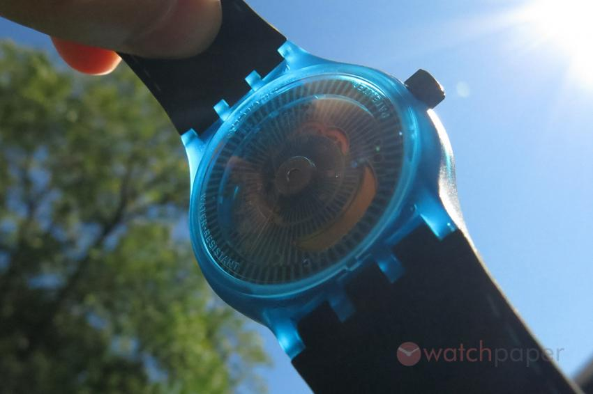 The blue Swatch Sistem51 a quasi transparent watch