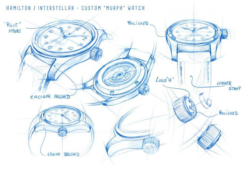 Drawings of the Hamilton Khaki Special Edition Interstellar worn by Murph, played by Jessica Chastain.