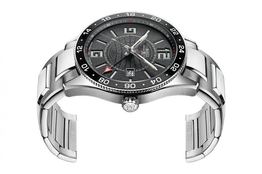 The side-view of the Ball Engineer Master II Pilot GMT, reveals the  depth of the layered dial.