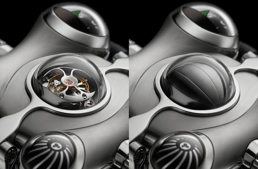The tourbillon open and closed on the MB&F HM6
