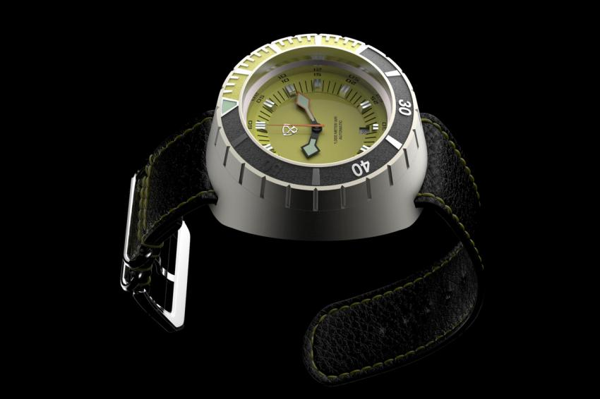 Stuckx's upcoming model, the Rock, is a bold diver offered in several colour combinations. Here is the yellow and black version.