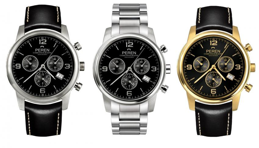 Peren Classic Chrono Military Edition, Class Chrono S for steel bracelet, and Classic Chrono Gold.