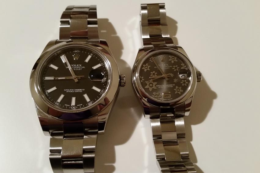 The Datejust II and Lady Datejust side by side.