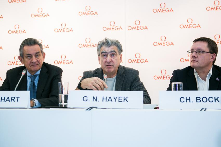 Stephen Urquhart, President of OMEGA, Swatch Group CEO Nick Hayek and Dr Christian Bock, the Director of METAS