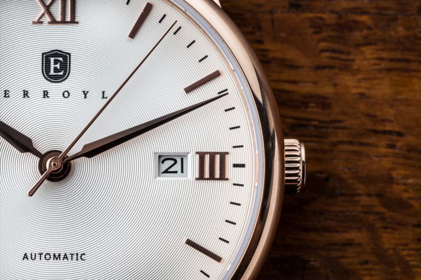 A close look at the guilloché dial of the ERROYL E30 Heritage Rose