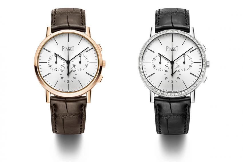 The two versions of the Piaget Altiplano Chronograph, rose gold and white gold, decorated with 56 brilliant-cut diamonds (approx. 1.8 cts).